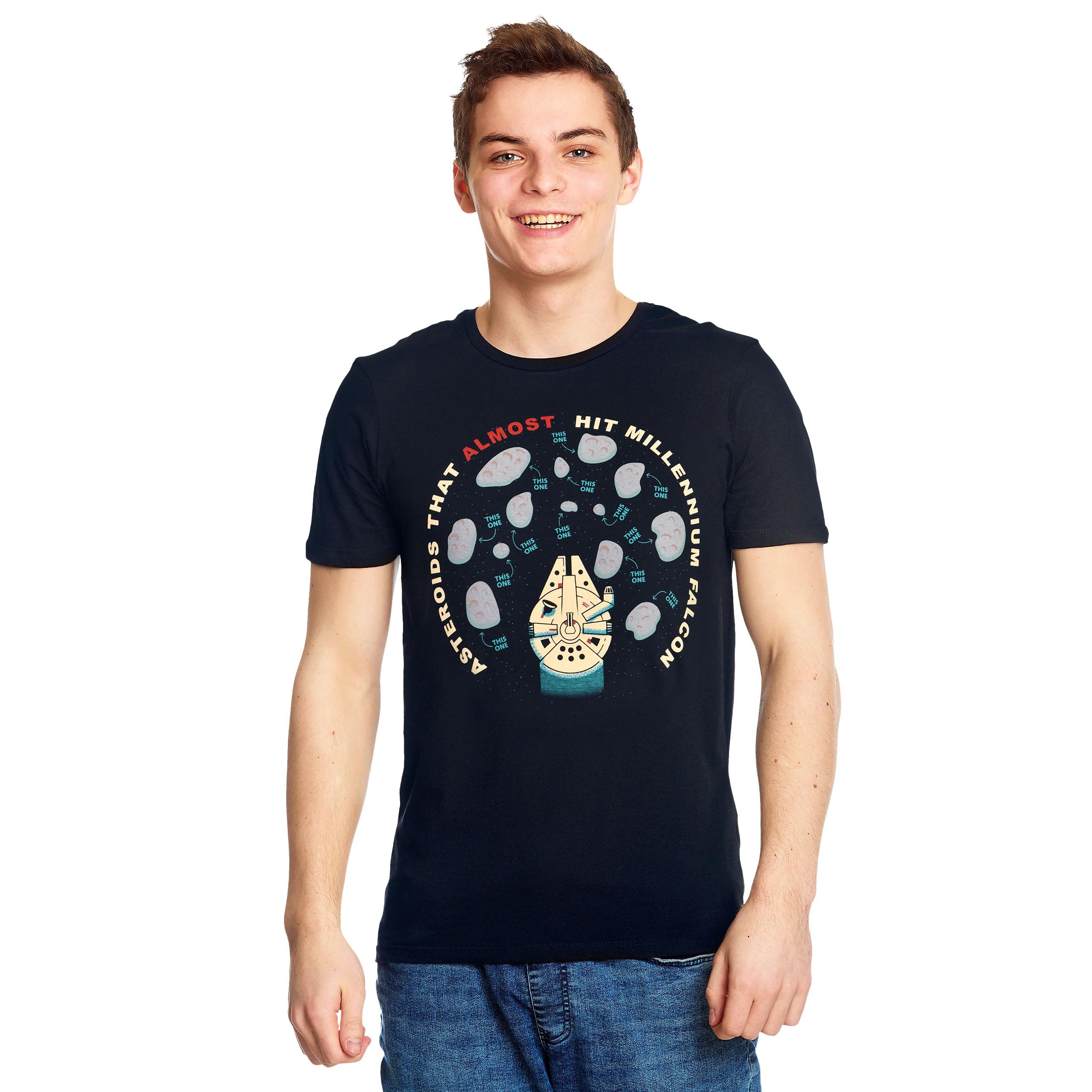 Star Wars - Asteroids That Almost Hit Millennium Falcon T-Shirt blau