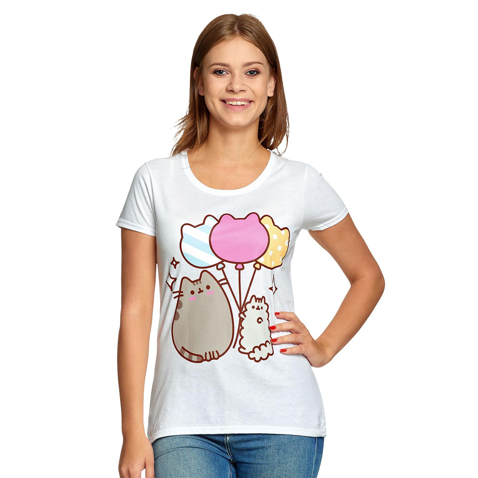 Pusheen - Balloons T-Shirt Damen weiß