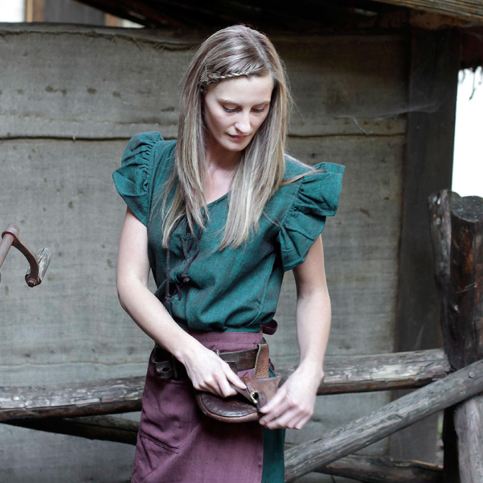 Mittelalter Kleid Agga Kurzarm mit Schürze grün