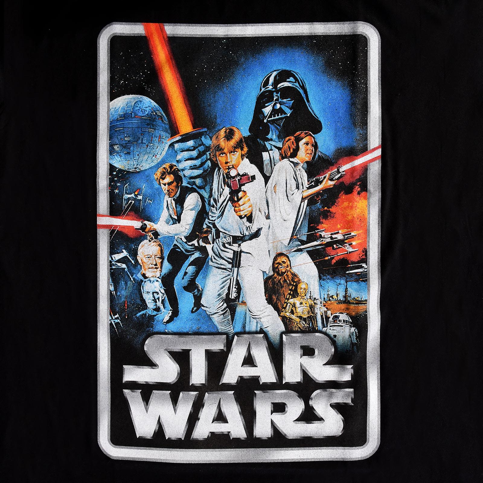 Star Wars - Retro Movie Poster T-Shirt schwarz