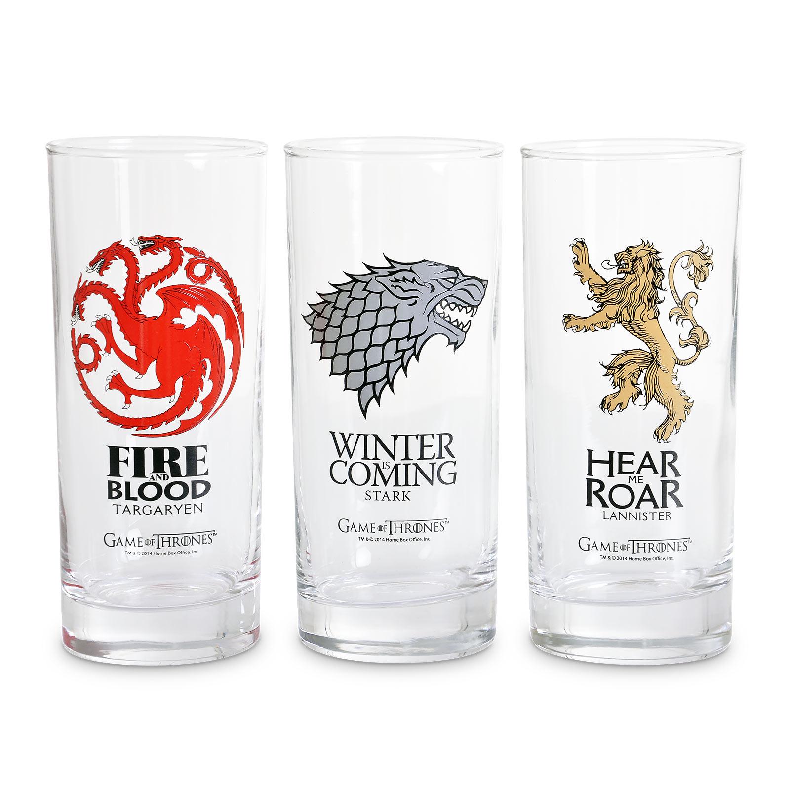 Game of Thrones - Wappen Gläser-Set